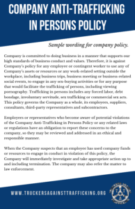 Company Anti-Trafficking In Persons Policy